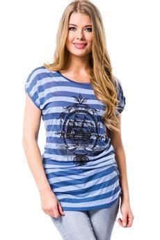 Удлиненная футболка в морском стиле Mondigo