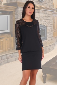 Черное платье с гипюровыми рукавами Натали