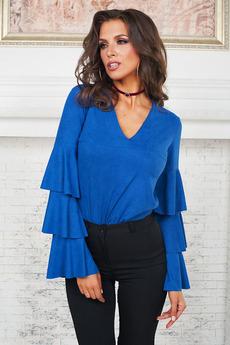 Синяя блуза с воланами Angela Ricci