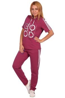 Бордовый спортивный костюм с капюшоном ElenaTex